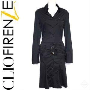 CLIO FIRENZE Shirt Dress Long Sleeve Collared Blk